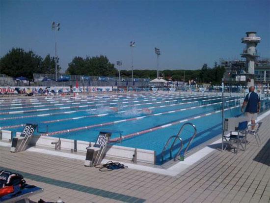 Het trainingsbad van de Amerikaanse ploeg in Riccione