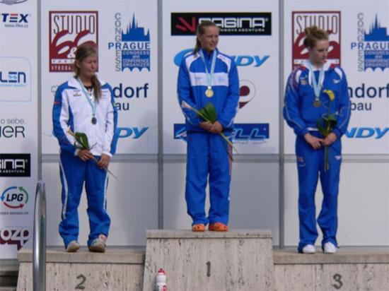 Sharon van Rouwendaal op het hoogste podium na de 400vrij